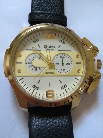 Relógio Masculino De Pulso Dourado De Luxo Quartzo Oulm 3745