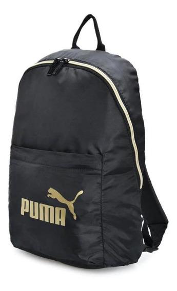Mochila Puma Core Seasonal Black Gold - 076573