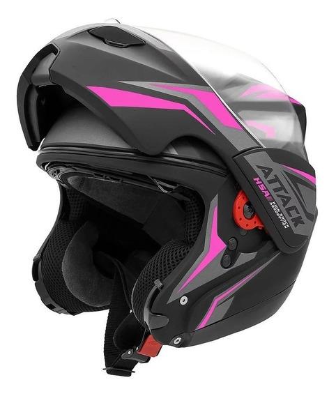 Capacete para moto escamoteável Pro Tork New Attack preto/rosa tamanho 58