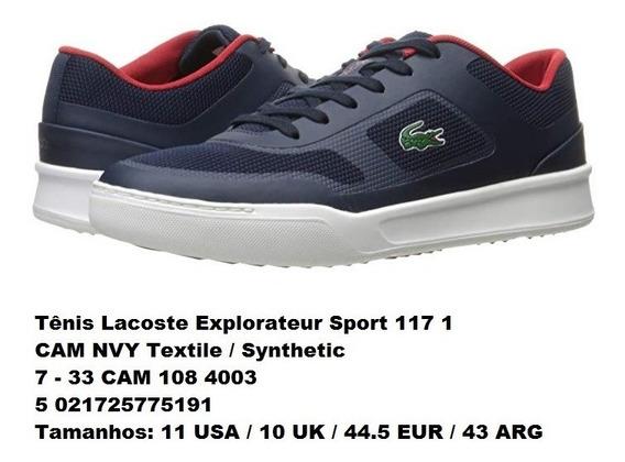 Tênis Lacoste Explorateur Azul Marinho/branco/vermelho - 43