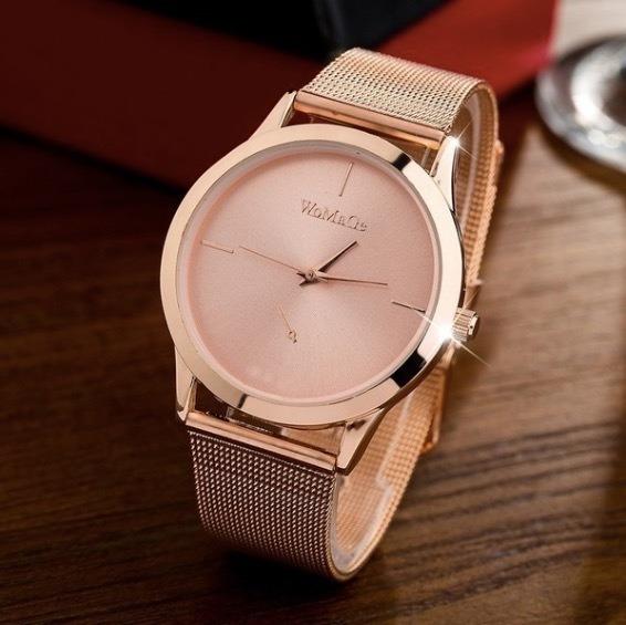 Relógio Feminino Rosé Preto Dourado Social Quartz