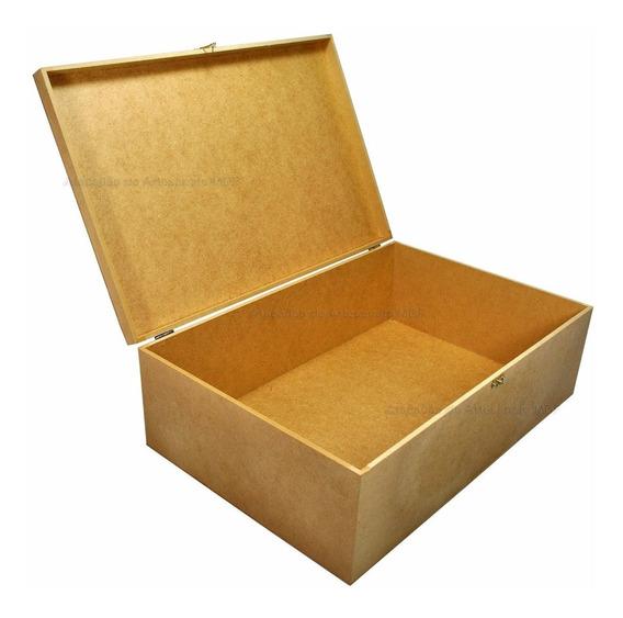 Caixa Com Dobradiça E Fecho Liso 45x30x15 Mdf Cru Madeira