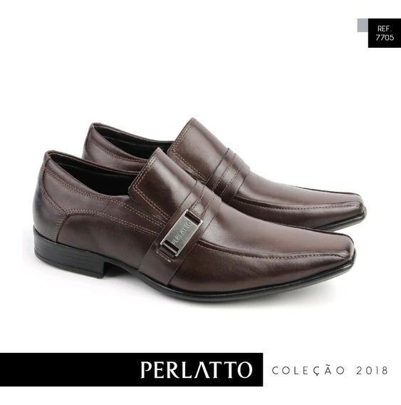 Sapato Social Masculino Café Perlatto Couro Casual 7705