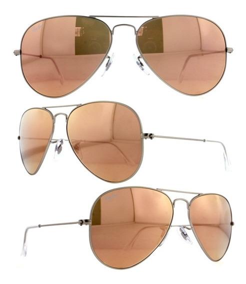 Óculos De Sol Ray Ban Rb3025 Prata Rose Espelhado