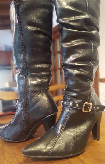 Botas De Cuero Negro Caña Larga Talle 36 Usadas