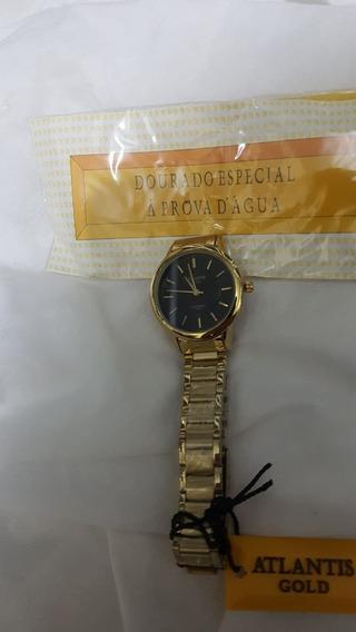 Relógio Atlantis Feminino Dourado W3456 + Fundo Preto !!!