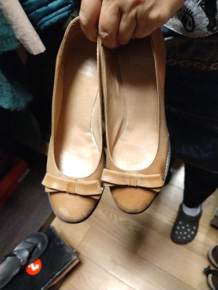 Zapatos Mujer Cuero Color Camel Nro 38
