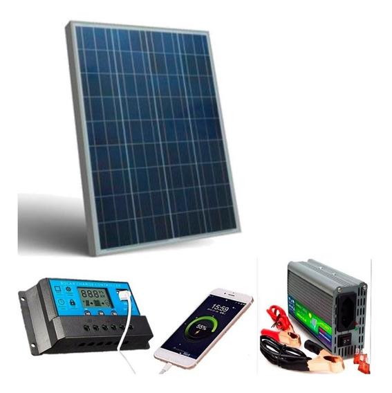 Kit Placa Solar 50w Inversor Controlador 12v 110 500w E Cabo