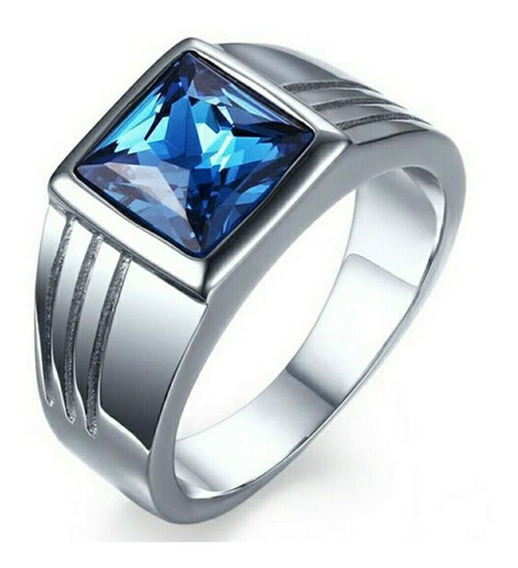 Anel Cor Prata E Pedra Azul Tam 7 E 8