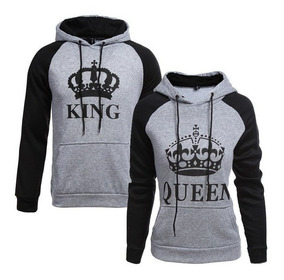 Kit C/2 Blusa Moletom Canguru Unissex Casal King & Queen