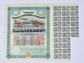 Acción Cia. Minera Fundidora Y Afinadora De Monterrey 1904