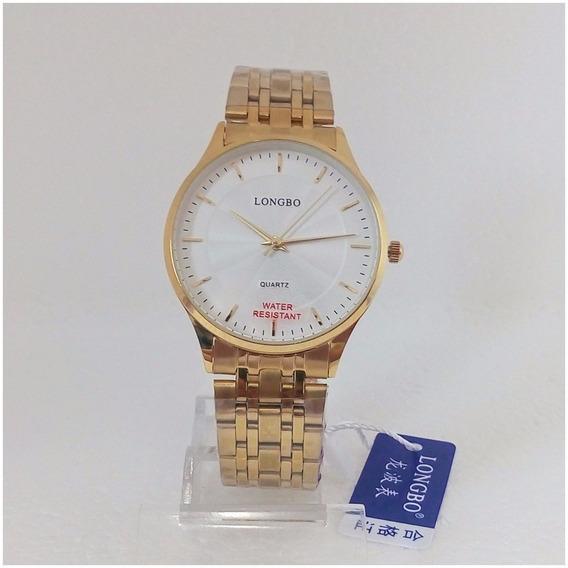 Relógio Masculino Dourado Original Longbo 80266g Social Vip