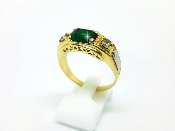 Anel Formatura Pedra Verde Masculino Folheado A Ouro 18k (28