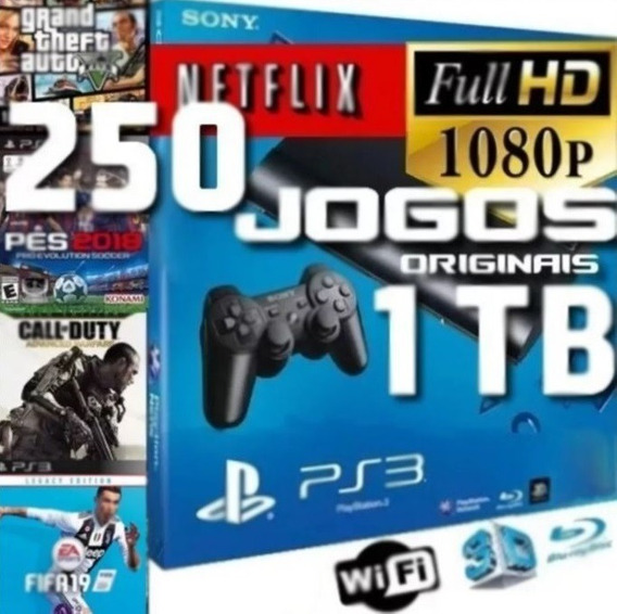 Ps3 Playstation 3 1tb Tera 250 Jogos Originais Fifa 19 Gta 5