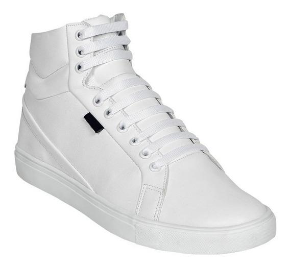 Calzado Hombre Caballero Tenis Moda Casual Tipo Piel Blanco