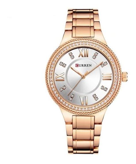 Relógio Feminino Original Luxo Curren Luxo Aço Inox Moda Top