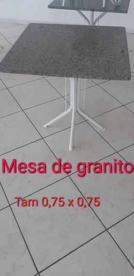 Mesas Granito E Pé De Ferro- 2 Unidades De 0,75x0,75