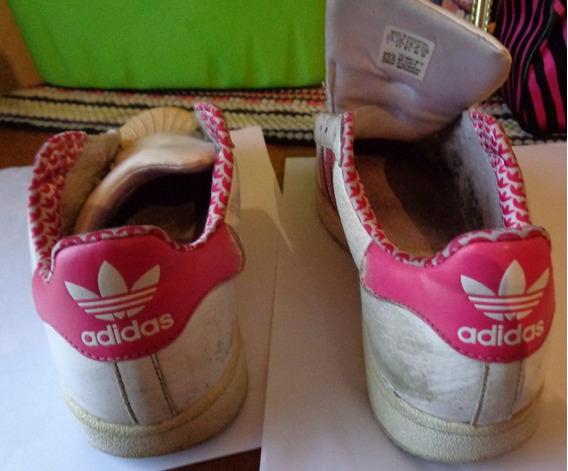 Zapatillas adidas Cuero, Blanca Con Rayas Rosas. Talle 37