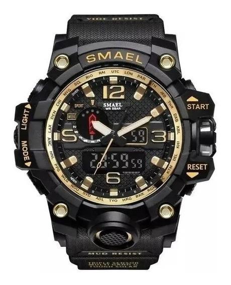 Relógio Militar Esportivo Digital Smael 1545 Gold Original