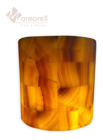 Arbotante, Lampara Pared. Piedra Onix Mod: Media Caña 20x20