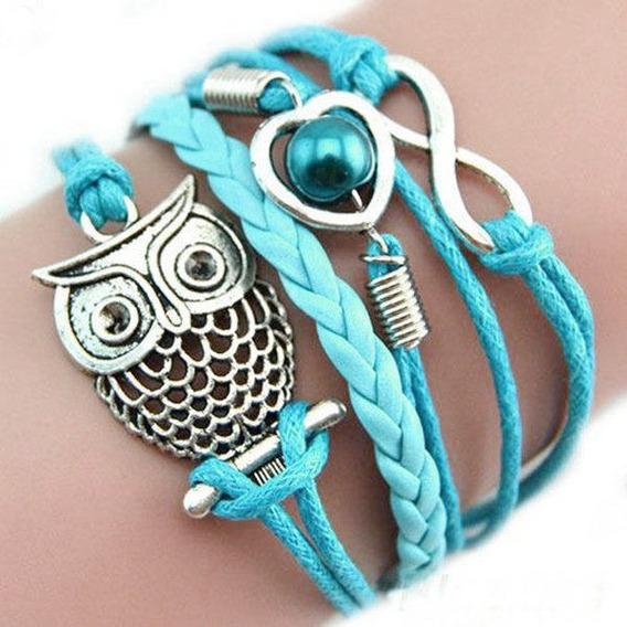 Pulseira Feminina Bracelete Couro Azul Coruja Infinito