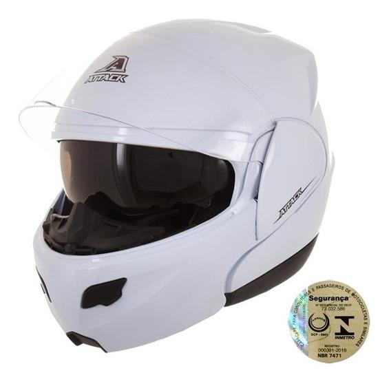 Capacete Feminino Moto Articulado Attack Branco Pro Tork