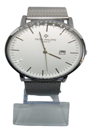 Relógio Masculino Patek Prata Aço Grande Barato Top Luxo
