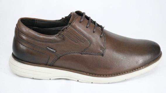 Sapato Ferracini Casual Cadarço Couro Marrom Conhaque - 43 -