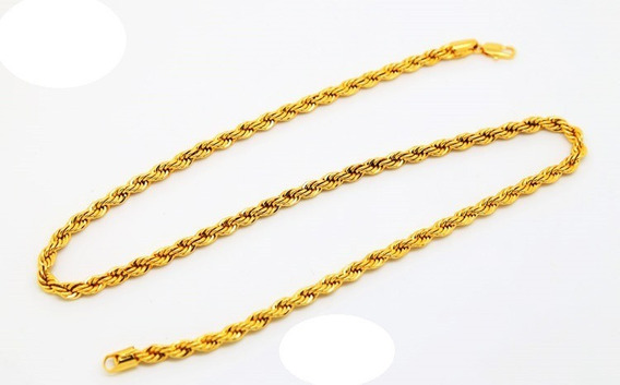 Cadena Torsal Oro Laminado 18k 30 Micras 3 Mm Ancho X 56 Cm
