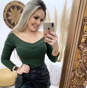 Body Feminino Ombro A Ombro Ciganinha Manga Longa Com Bojo