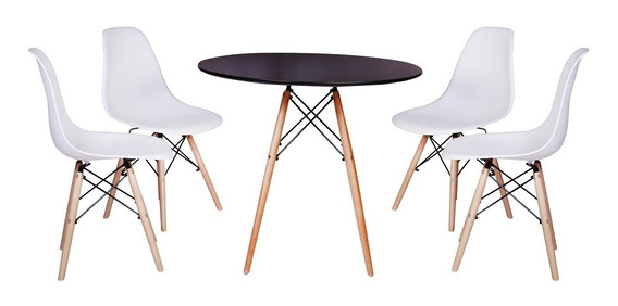 Kit Mesa Jantar Eiffel 90cm Preta + 4 Cadeiras Eames Eiffel