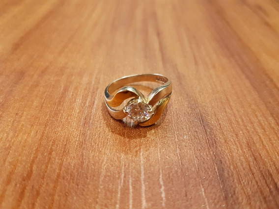 Anel Prata Feminino Aplique Com Ouro 12k Com Zirconia 172