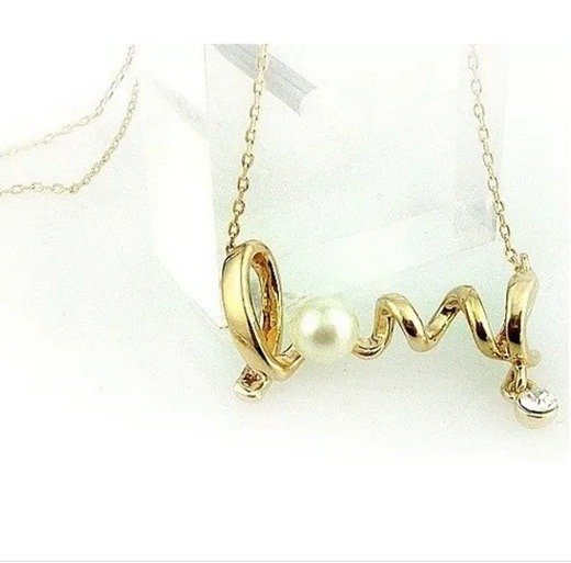 Colar Cordão Feminino Love Dourado C/ Strass