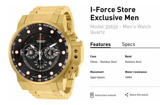 Relógio Invicta Modelo 30639 Edição Limitada N 0207/5000