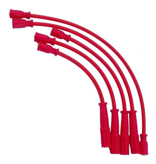 Jogo Cabo Vela Silicone Vermelho 8mm Gol Quadrado Ap 1.6 1.8