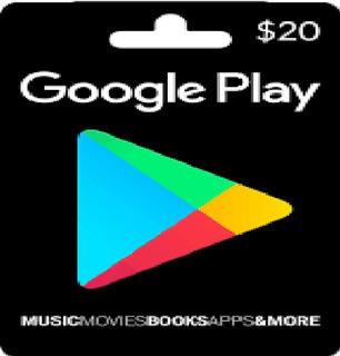 Tarjetas Google Play 20 Usd Entrega Inmediata