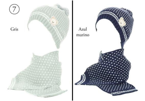 Gorro Invierno Con Bufanda Para Bebe Algodón Frio Bb 30-001