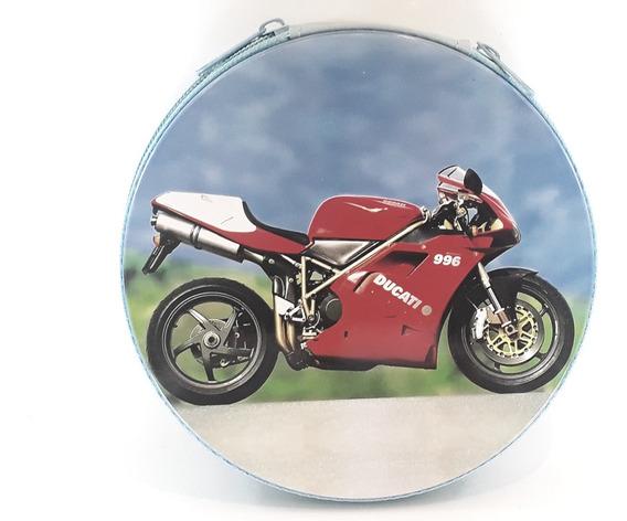 Porta Cd/dvd Motos Ducati Verm/branca Estojo Metal 24 Cd Dvd