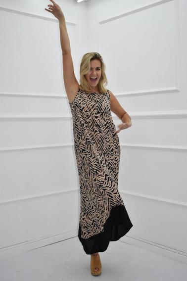 Vestido Mujer Largo Estampado Animal Print Con Zocalo
