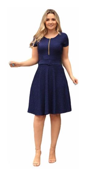 Vestido Feminino Rodado Com Cinto Moda Evangélica Promoção