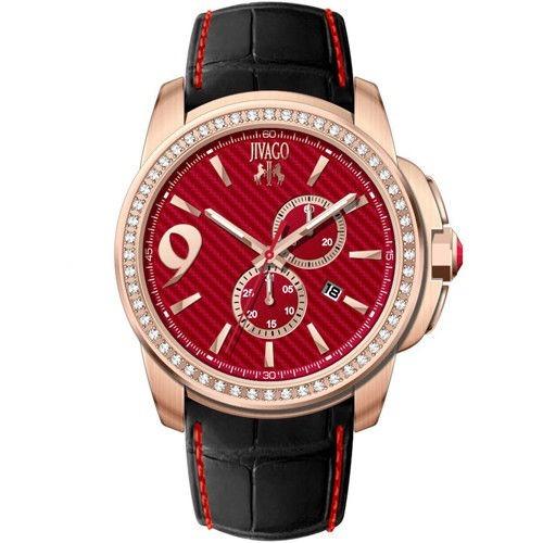 Reloj Jivago Gliese Cuero Negro Rojo Mineral Hombre Jv1534