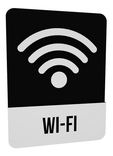 Imagem 1 de 2 de Placa Indicativa Wi-fi Decoração Hotel Restaurante Bar Mdf