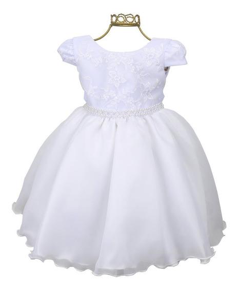 Vestido Branco Infantil Batizado Daminha Florista Casamento Bordado Pérolas Bn780