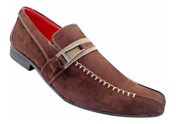 Sapatos - Sapato Social De Couro Nobuck Hiperflex Vermelho