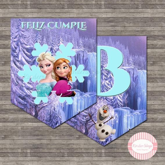 Frozen Banderin Impreso Personalizado X 6 Solapas