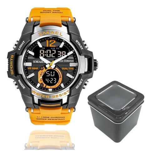Relógio Smael 1805 Militar Sport Dual-time Laranja
