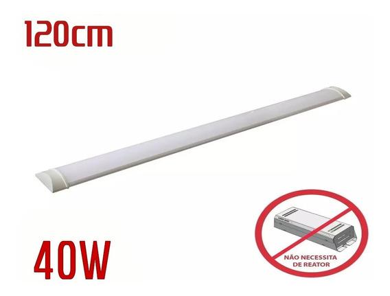 Luminaria Tubular Sobrepor Linear 1,20cm Calha 40w Kit C/3