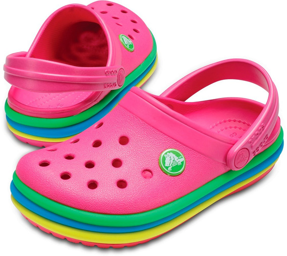 Crocband Rainbow Band Clog 100% Original