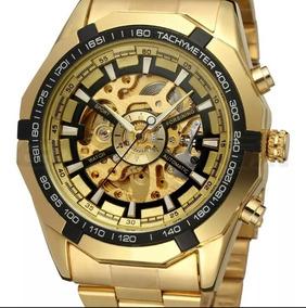 Relógio Winner Dourado Masculino Esqueleton 100%original