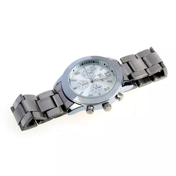 Relógio Juvenil Unisex Geneva Pulseira De Aço
